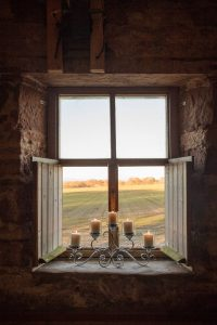 Pitcalzean House window overlooking filelds